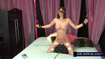 gets up tied throated girl and Gagging herself on a dildo